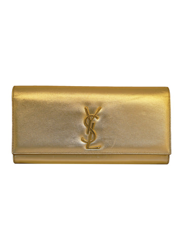 CASSANDRE GOLD METALLIC MONOGRAM CLUTCH