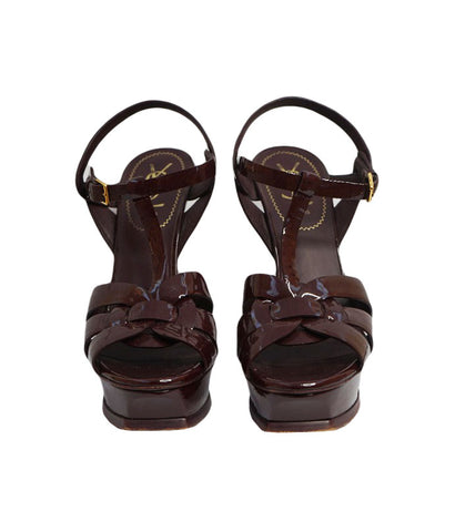 PLUM PATENT LEATHER TRIBUTE SANDALS