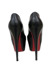 BLACK LEATHER LADY HIGHNESS MARY JANE PLATFORM PUMPS