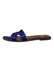 BLUE LEATHER ORAN SANDALS