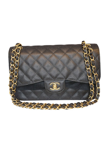 BLACK CLASSIC DOUBLE FLAP CAVIAR LEATHER