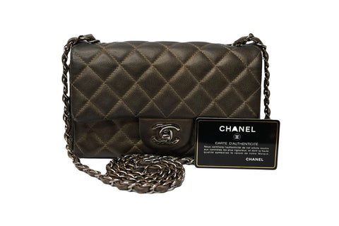 METALLIC GREY QUILTED CAVIAR LEATHER MINI CLASSIC SINGLE FLAP