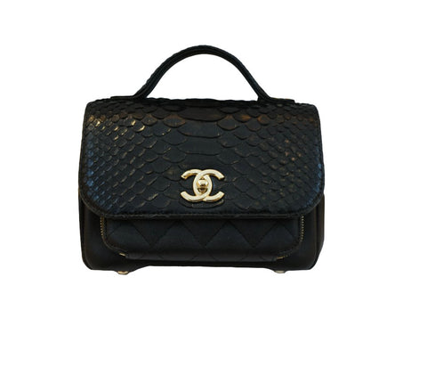 BLACK PYTHON & CAVIAR LEATHER SMALL BUSINESS AFFINITY FLAP BAG