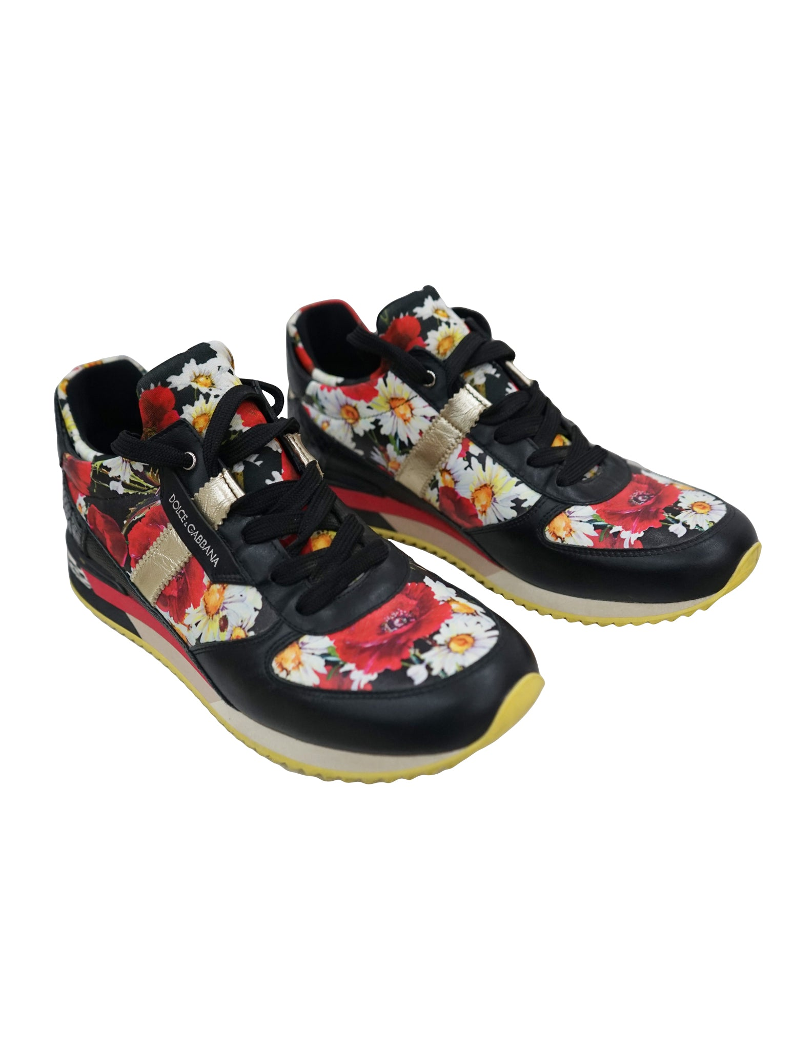 FLORAL PRINT LEATHER SNEAKERS