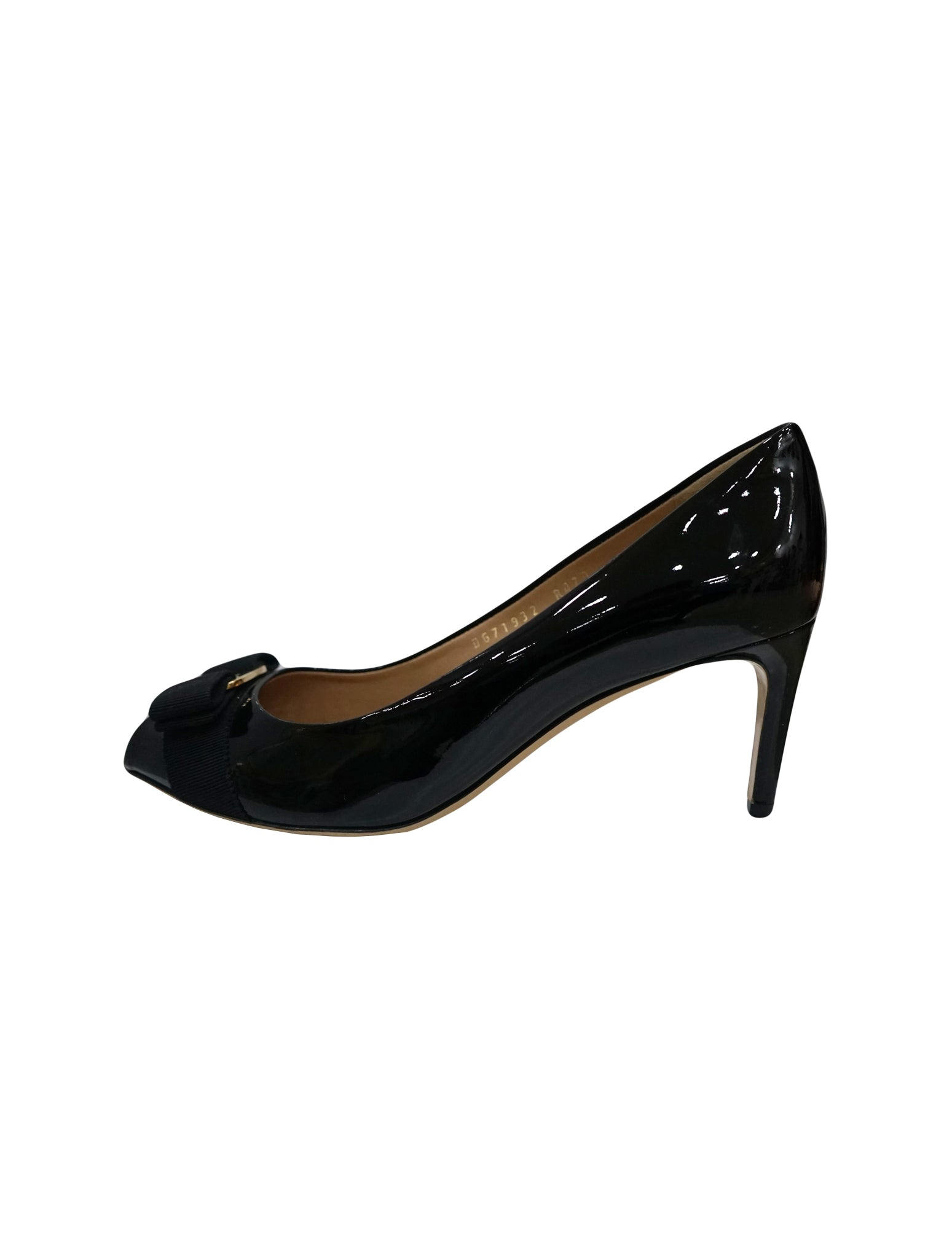 BLACK PATENT LEATHER BOW ACCENT PEEP TOE PUMPS 8.5