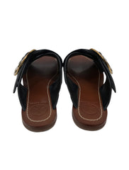 BROWN LEATHER T LOGO FLAT SANDALS