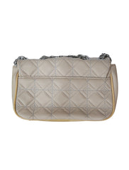 BEIGE QUILTED EMBROIDERED CROSSBODY BAG