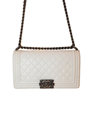 WHITE GRAINED LEATHER QUILTED LEATHER MEDIUM BOY BAG