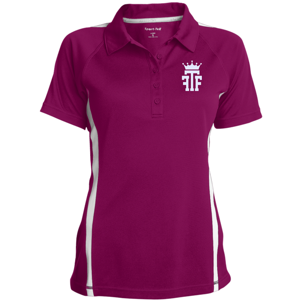 FTF Logo Ladies Custom Colorblock Three Button Polo - Fear The Fighter