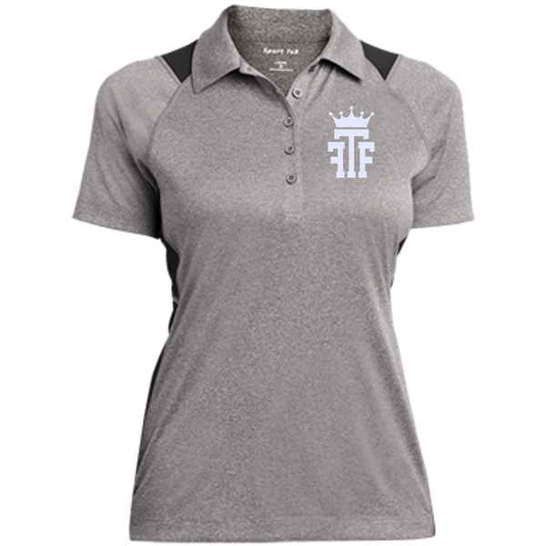 FTF Logo Ladies Heather Moisture Wicking Polo - Fear The Fighter