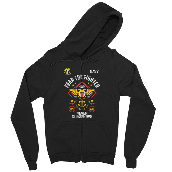 FTF Navy ZipUp Hoodie - Fear The Fighter