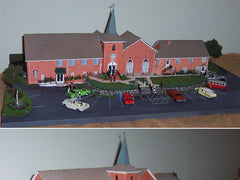 Hebron Baptist Church Model with Brick Paper