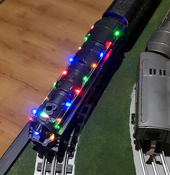 colored light string used in a model train