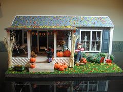 Creapy halloween porch in daylight