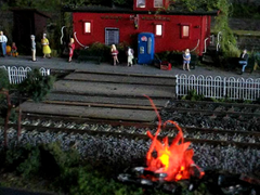Fire on a train station