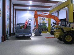 Heavy equipment in garage