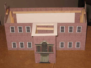 and imported the windows from a web site. I imported the entrance to the building from web pictures of the hall and sized them to fit the building.