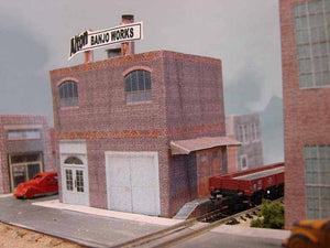Z scale factory, Alton Banjo Works, other buildings in this photo are also from Model Builder