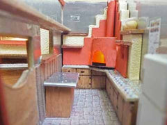 Orange kitchen stove