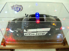 Police car in a glass box