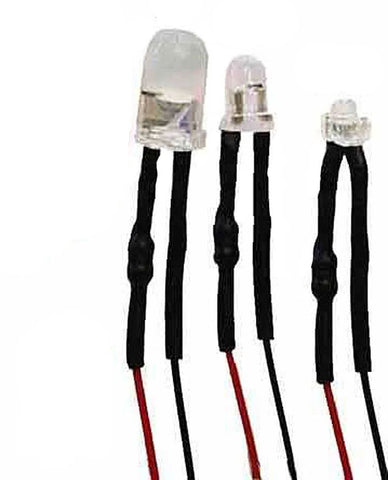Blue 5x HO /& N SCALE 3 MM PRE-WIRED LED LIGHT 12 VOLTS
