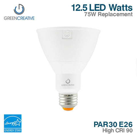 Green Creative 16125 PAR30 E26 12.5W High CRI 90 120-277V Non-Dimmable 3000K