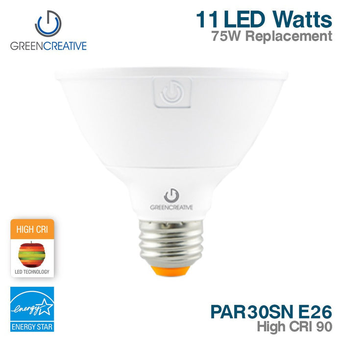 Green Creative 16131 PAR30SN E26 11W High CRI 90 120V Dimmable 2700K