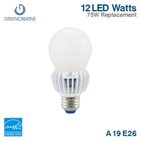 Green Creative 16175 A19 Standard 12W (75 Watt Equal) LED Light Bulb E26 120V Dimmable 2700K