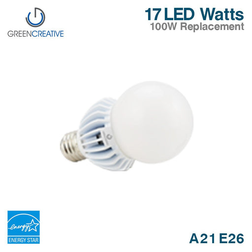 Green Creative 16180 A21 E26 17W 120V Dimmable 3000K