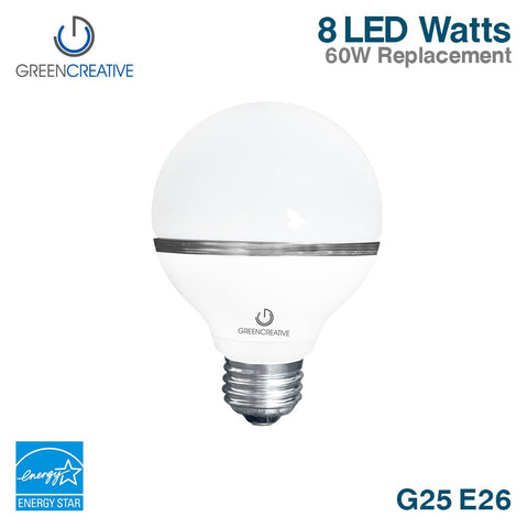 Green Creative 95348 G25 Bath Vanity LED Light Bulb E26 8W (60 Watt Equal) 120V Dimmable 2700K
