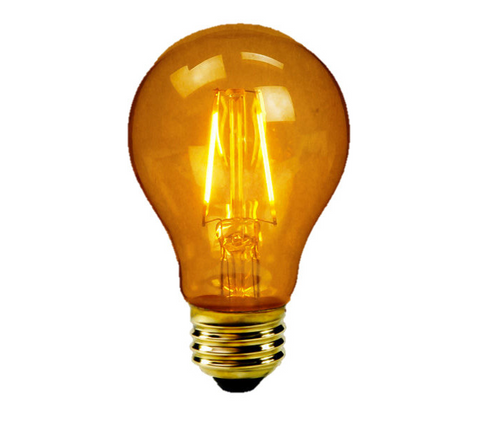 Archipelago Vintage A19 2W LED Filament Antique Style Bulb Victorian Amber Glass 180 Lumens