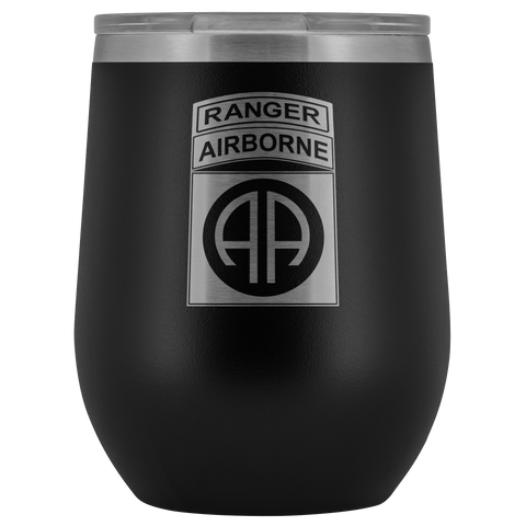 82ND AIRBORNE DIVISION TABBED WINE TUMBLER Wine Tumbler Black Upper Tier Development