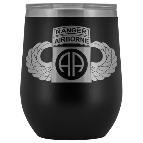 82ND AIRBORNE DIVISION TABBED WINGED WINE TUMBLER Wine Tumbler Black Upper Tier Development