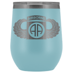 82ND AIRBORNE DIVISION WINGED WINE TUMBLER Wine Tumbler Light Blue Upper Tier Development