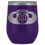 82ND AIRBORNE DIVISION WINGED WINE TUMBLER Wine Tumbler Purple Upper Tier Development