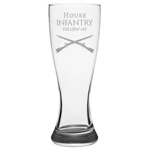 HOUSE INFANTRY PILSNER GLASS Pilsner Glass Laser Etched No Colored Art Upper Tier Development