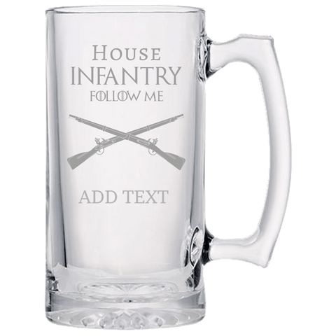 PERSONALIZED HOUSE INFANTRY BEER MUG Beer Mugs Laser Etched No Colored Art Upper Tier Development