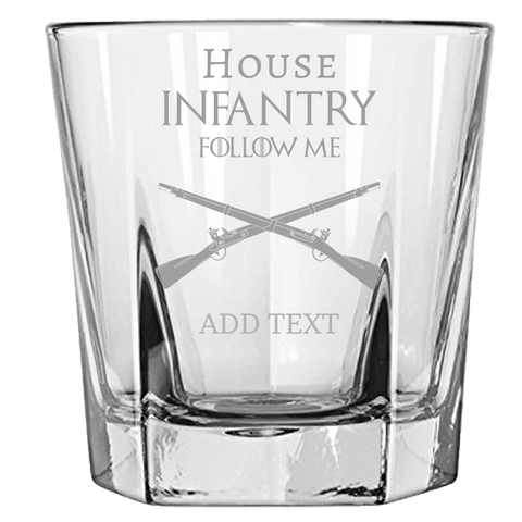 PERSONALIZED HOUSE INFANTRY ROCK GLASS Rock Glass Laser Etched No Colored Art Upper Tier Development