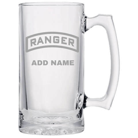 PERSONALIZED RANGER TAB BEER MUG Beer Mugs Laser Etched No Colored Art Upper Tier Development