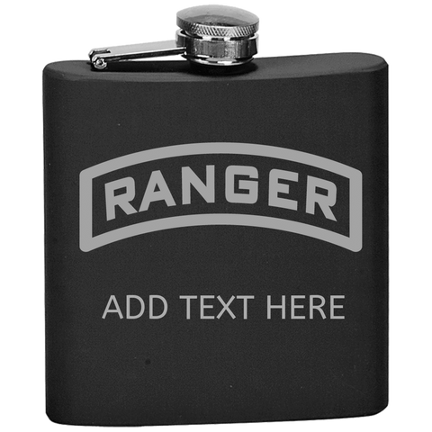 PERSONALIZED RANGER TAB FLASK Flask Laser Etched No Colored Art OS / Black Upper Tier Development