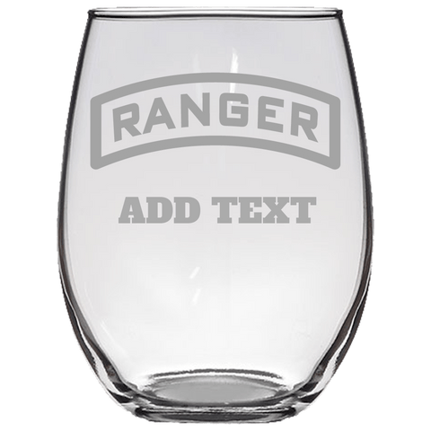 PERSONALIZED RANGER TAB STEMLESS WINE GLASS Stemless Wine Glass Laser Etched No Colored Art Upper Tier Development