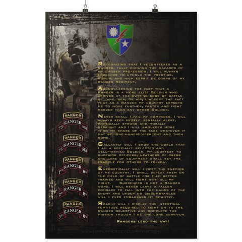 RANGER CREED (RANGER REGIMENT EDITION) POSTER Posters 2 24x36 Upper Tier Development