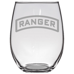 RANGER TAB STEMLESS WINE GLASS Stemless Wine Glass Laser Etched No Colored Art Upper Tier Development