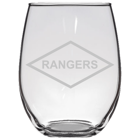 RANGERS WINE GLASS Stemless Wine Glass Laser Etched No Colored Art Upper Tier Development