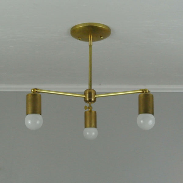 Bare Bulb 3-Arm Adjustable Chandelier
