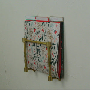 Brass Wall Mount Magazine Rack - File Folder Holder - Pepe & Carols