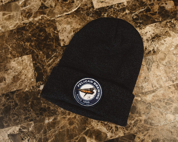 Heathered Knit Fold-Over Beanie with Embroidered Logo Patch