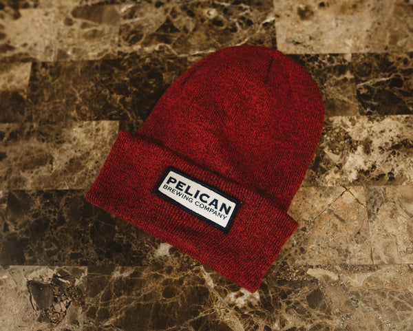 Heathered Knit Fold-Over Beanie with Embroidered Wordmark Patch