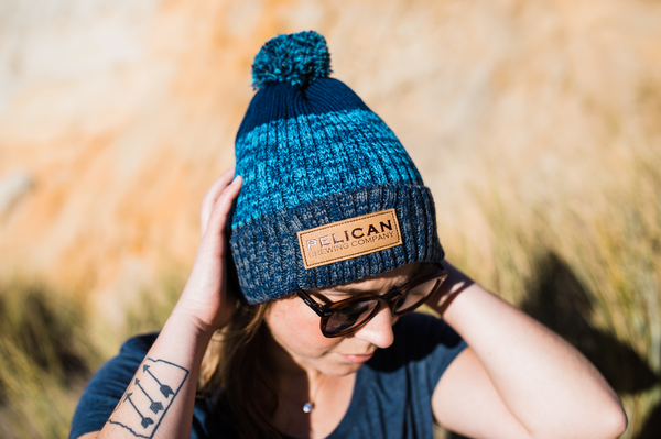 Pom Beanie with Embroidered Wordmark Patch
