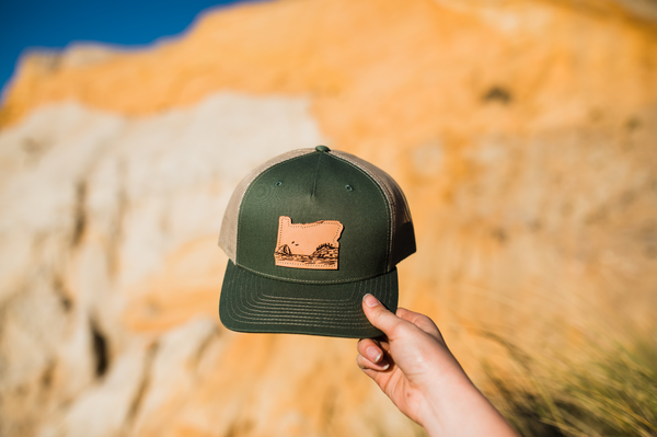 + Tri-colored Trucker Hat with Oregon patch